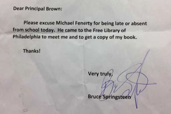 Absence Note for School New Bruce Springsteen Signs Absence Note for Philly Student