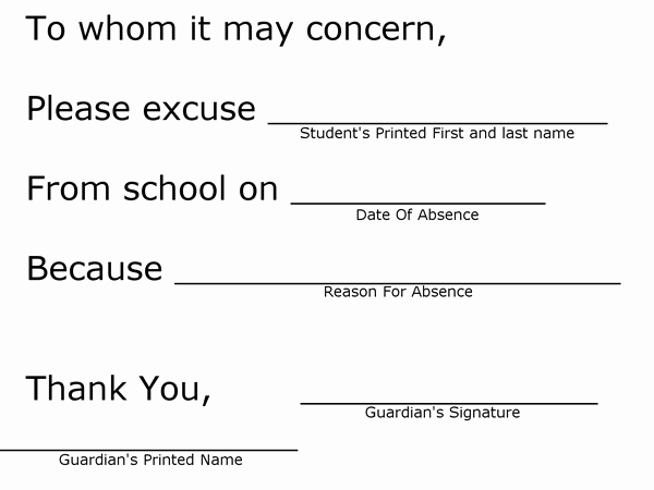 Absence Note for School New for Students Student Information