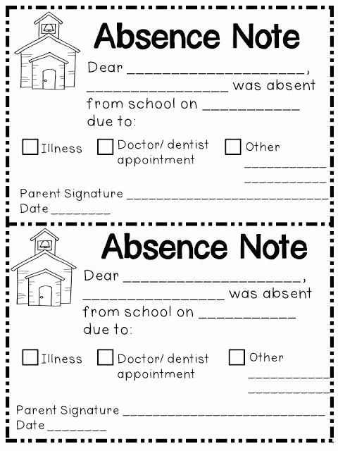 Absent Note for School Elegant Absence Note Printable Printable