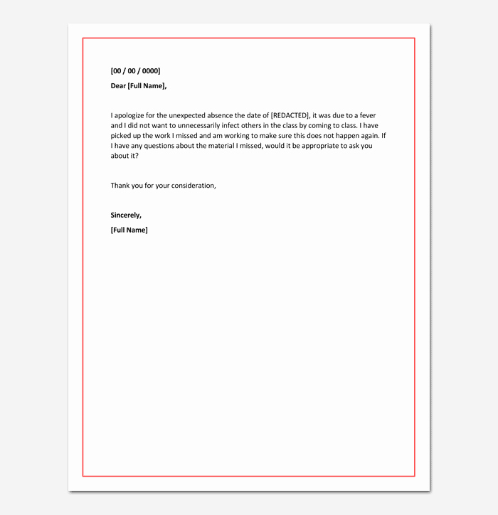 Absent Note for School Inspirational Apology Letter for Absence From School Due to Illness