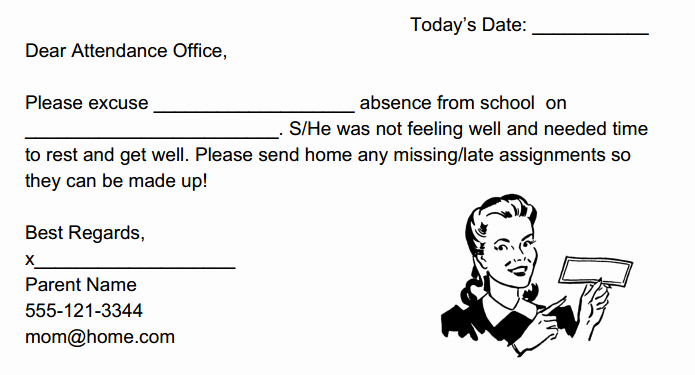 Absent Note for School Lovely Inthesauce School Absent Note Template