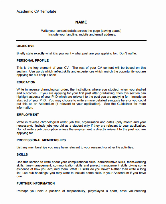 Academic Cv Template Word Beautiful 9 Academic Cv Templates Download for Free