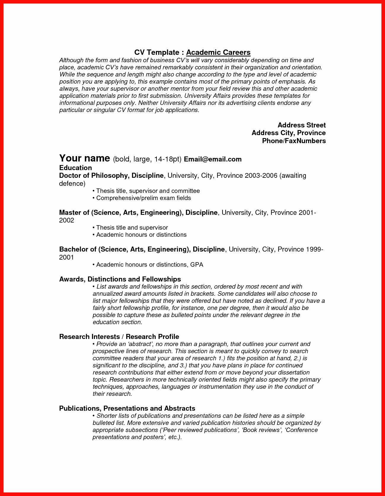 Academic Cv Template Word Best Of Best Word Resume Template