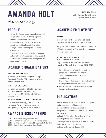 Academic Cv Template Word Elegant Customize 64 Academic Resume Templates Online Canva