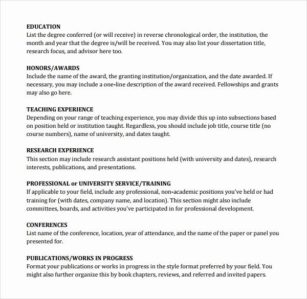 Academic Cv Template Word Elegant Sample Cv 26 Documents In Pdf Word