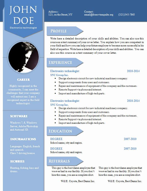 Academic Cv Template Word Fresh Curriculum Vitae Resume Word Template 904 – 910 – Free Cv
