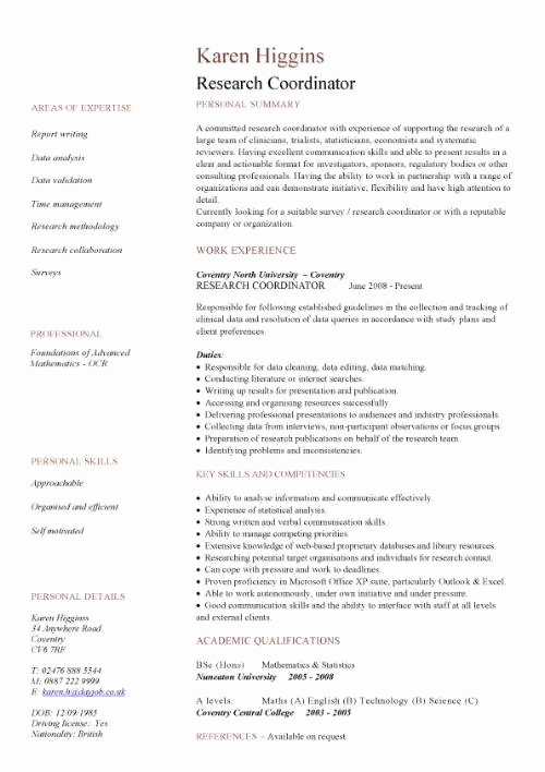 Academic Cv Template Word Lovely Research Coordinator Cv Sample