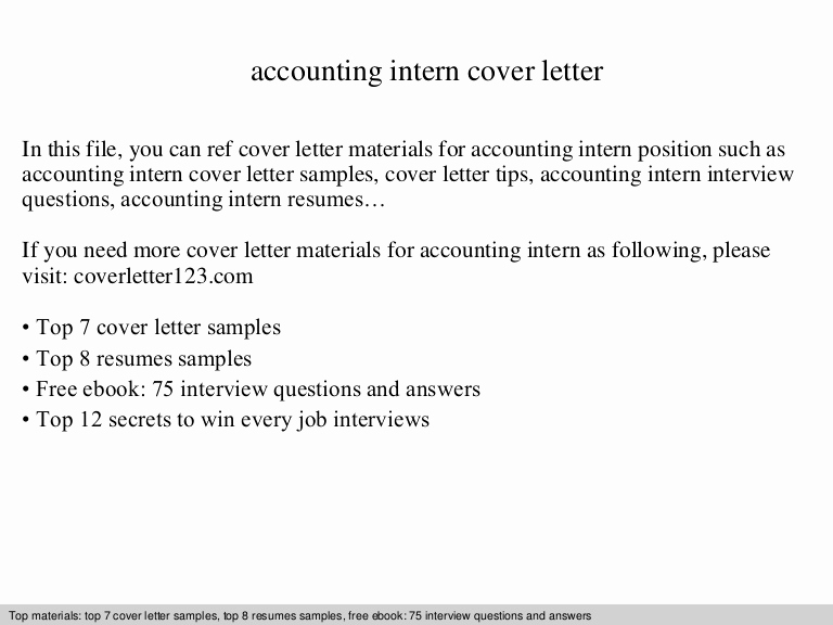 Accounting Internship Cover Letter Elegant Accounting Intern Cover Letter