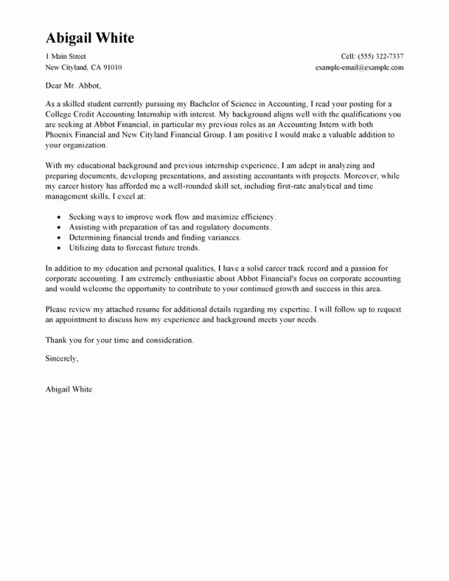 Accounting Internship Cover Letter Lovely 27 Accounting Internship Cover Letter Accounting