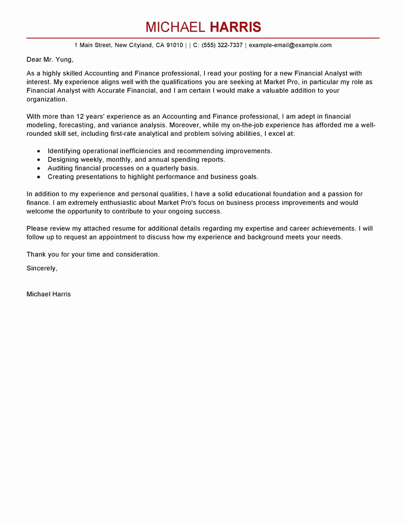 Accounting Internship Cover Letter Lovely Best Accounting & Finance Cover Letter Examples