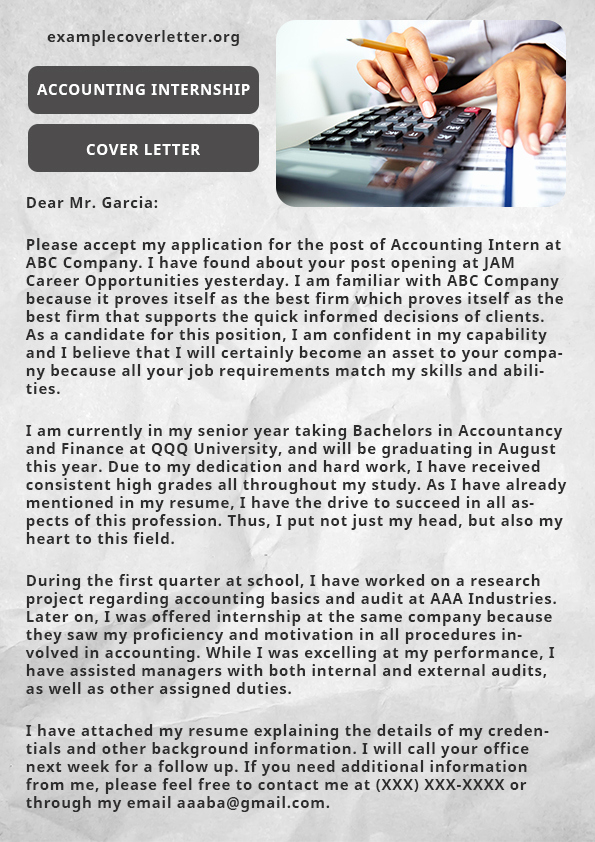 Accounting Internship Cover Letter Luxury Freelance Cover Letter Sample