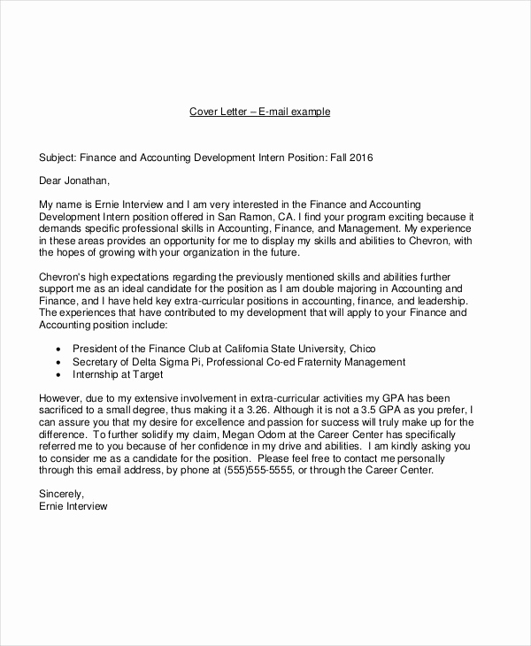 Accounting Internship Cover Letter New 19 Email Cover Letter Templates and Examples