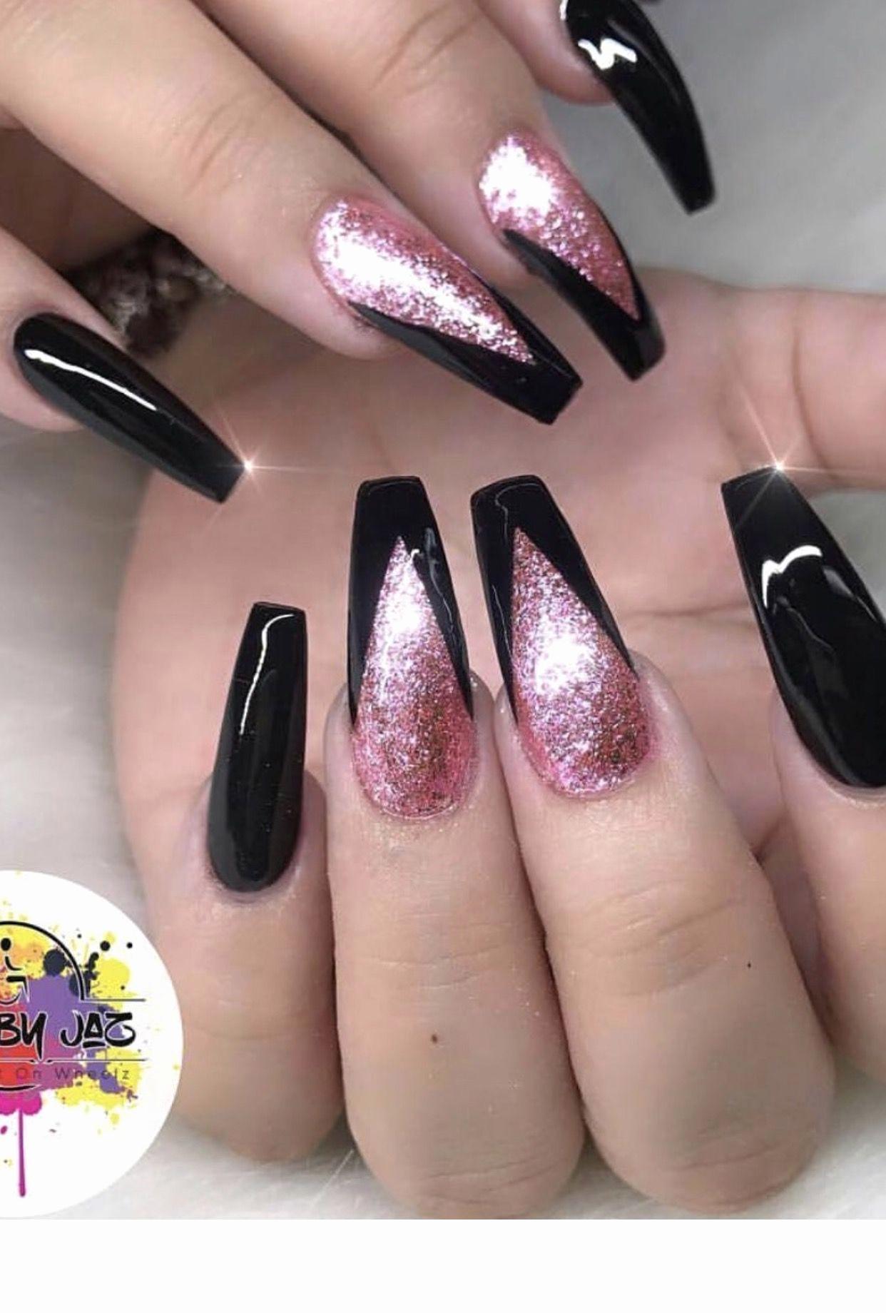 Acrylic Nail Designs 2019 Awesome Black and Pink Nails Hair Skin Nails In 2019