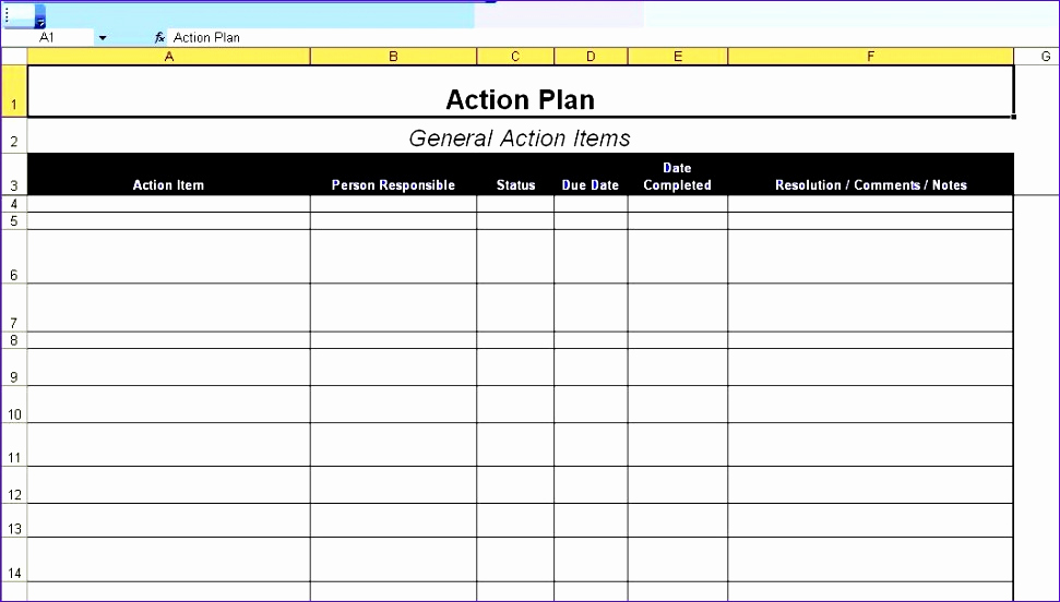 Action Plan Templates Excel Inspirational 6 Project Action Plan Template Excel Exceltemplates