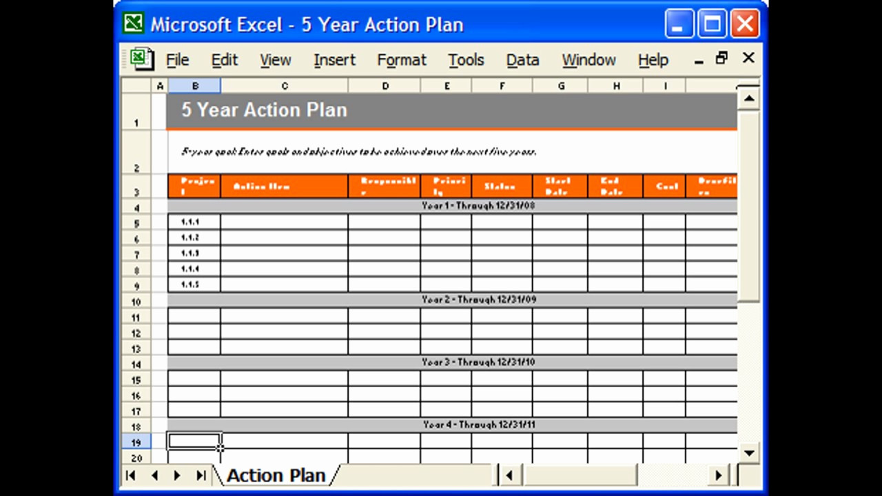 Action Plan Templates Excel New Action Plan Template Excel