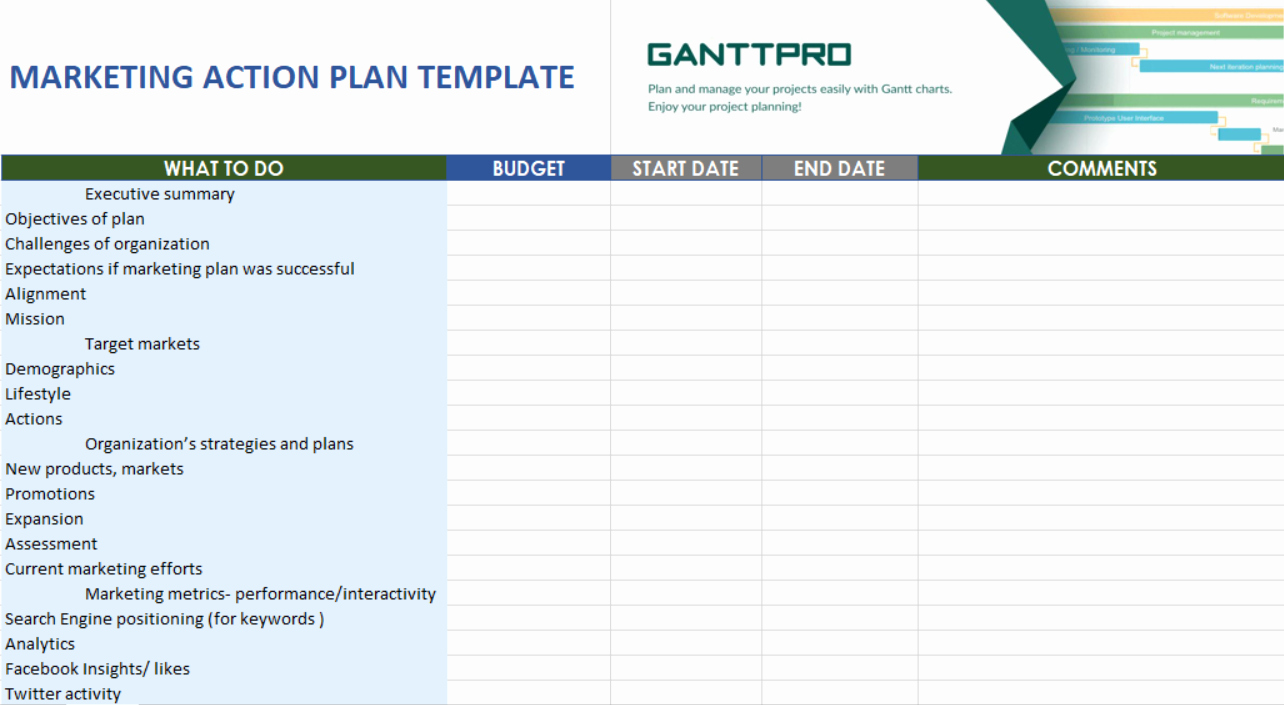 Action Plan Templates Excel New Marketing Action Plan Template Free Download