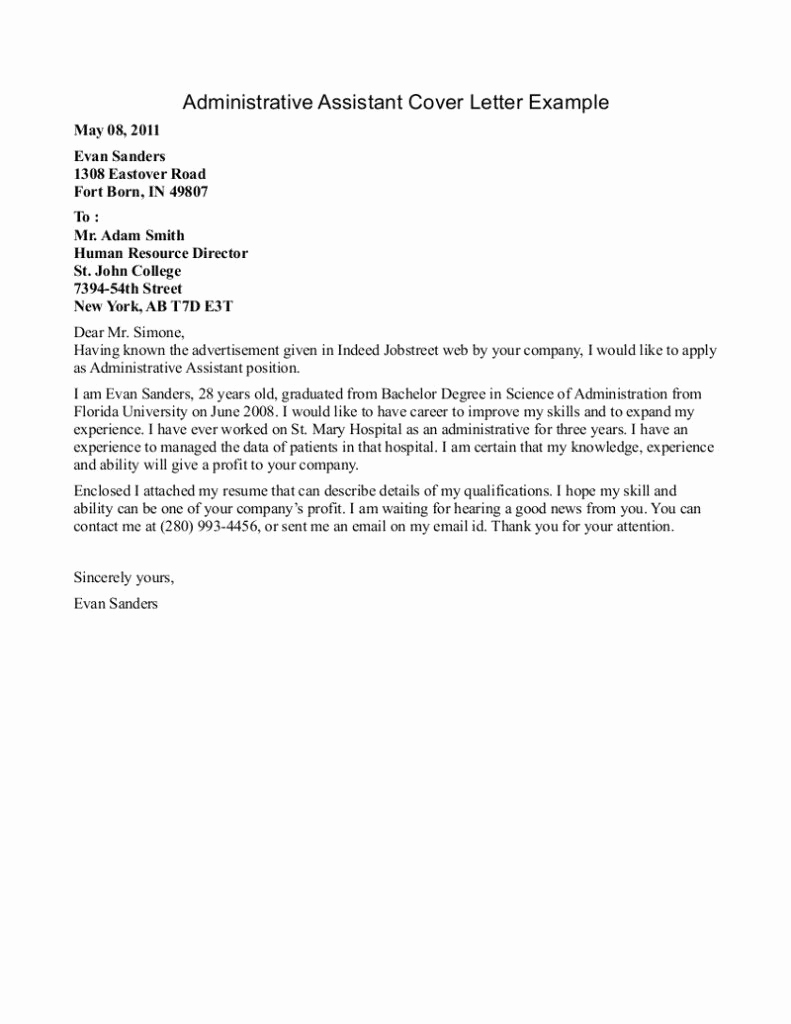 Administrative assistant Cover Letter Examples Beautiful Best Cover Letter 2017 Resume