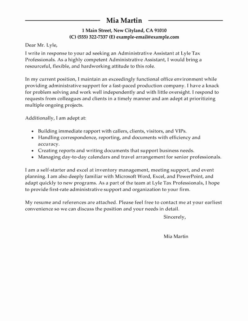 Administrative assistant Cover Letter Examples Inspirational Best Administrative assistant Cover Letter Examples