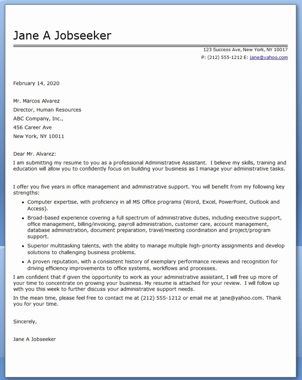 Administrative assistant Cover Letter Examples Luxury Administrative assistant Cover Letter Sample