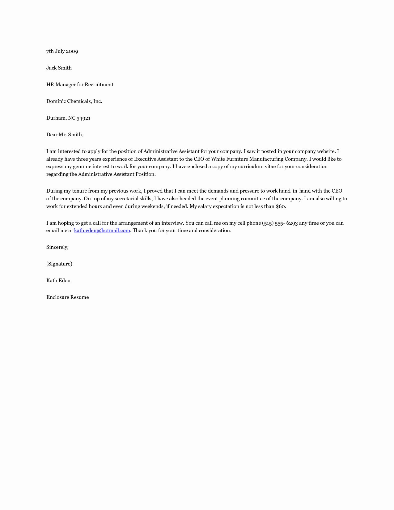 Administrative assistant Cover Letter Examples Luxury the Best Cover Letter for Administrative assistant