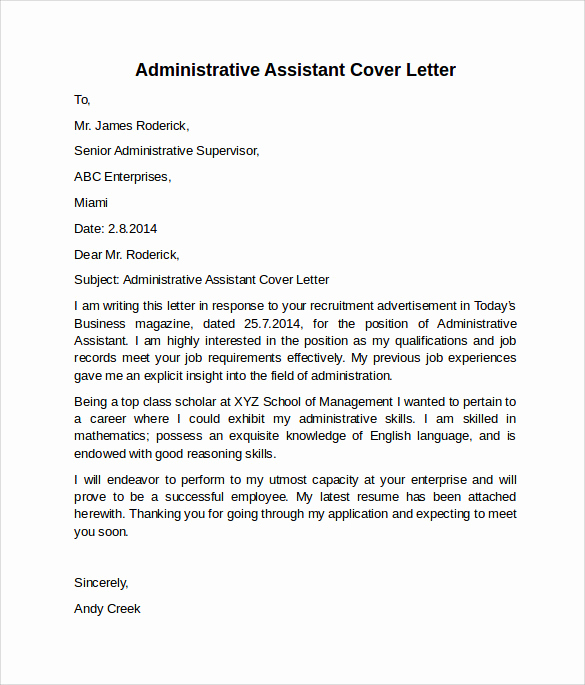 Administrative assistant Cover Letter Examples Unique Administrative assistant Cover Letter 9 Free Samples