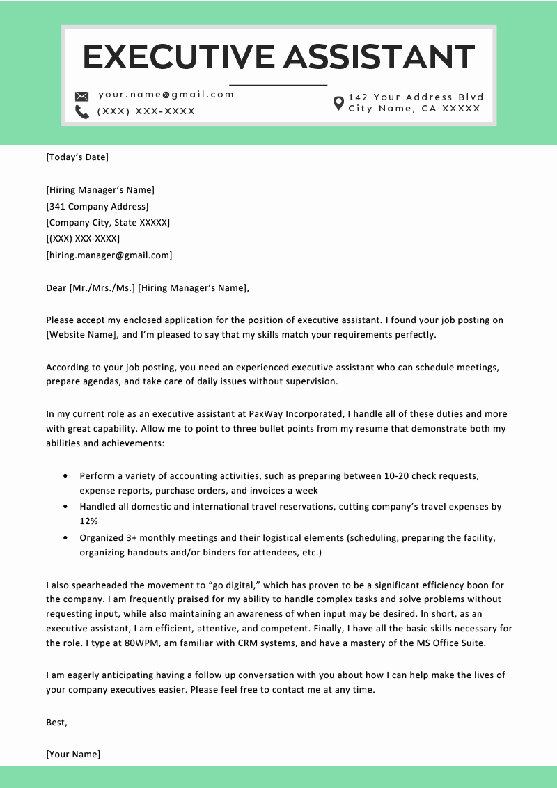 Administrative assistant Cover Letter Examples Unique Executive assistant Cover Letter Example & Tips