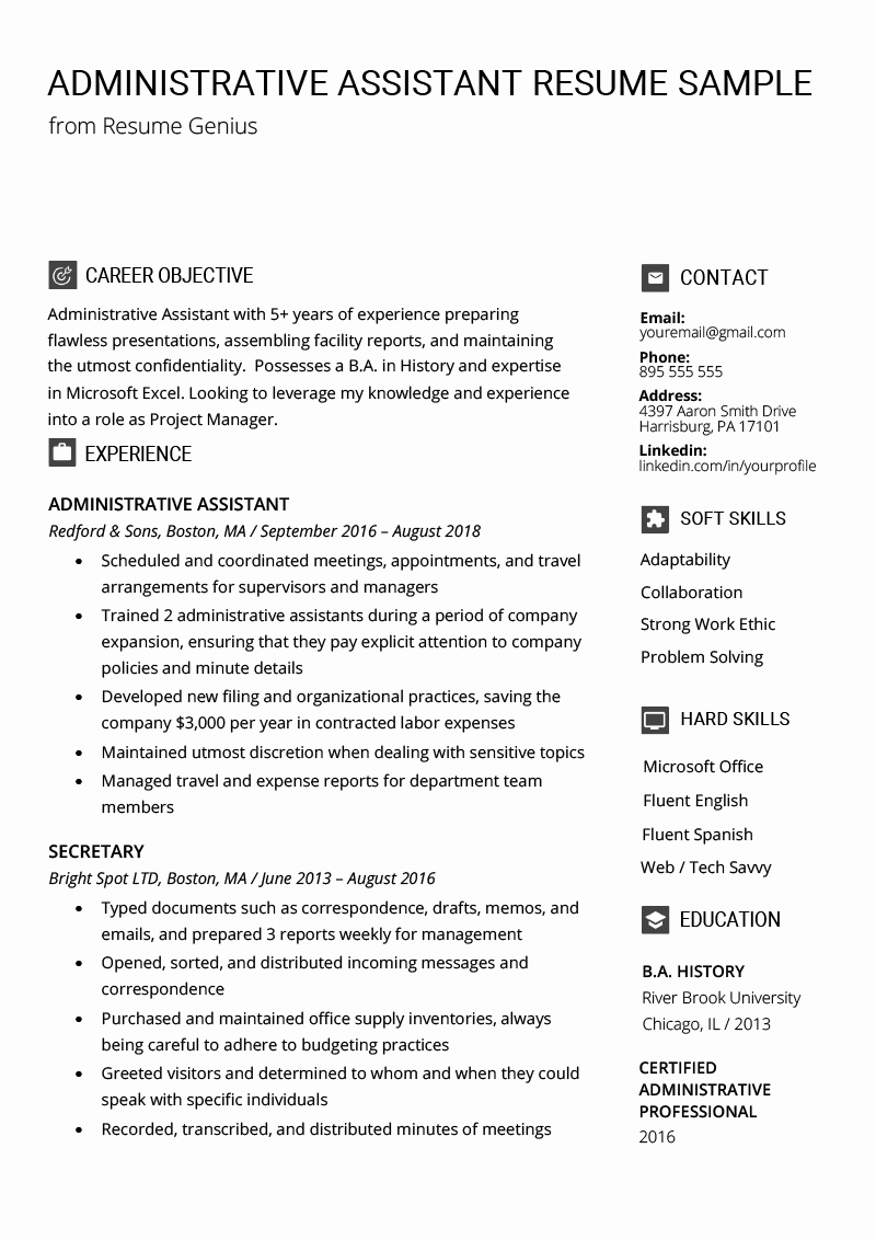 Administrative assistant Resume Objective Awesome Administrative assistant Resume Example & Writing Tips