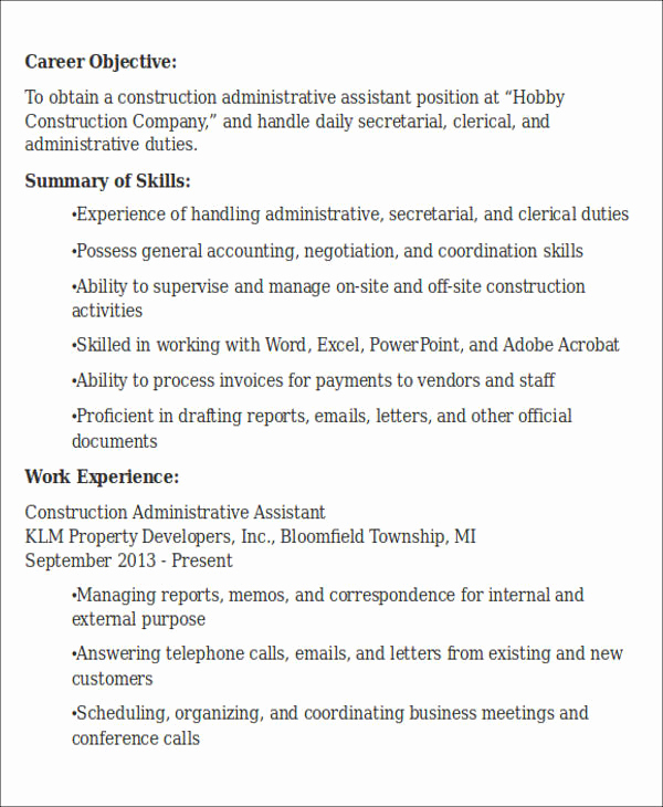 Administrative assistant Resume Objective Beautiful Administrative assistant Resume Objective 6 Examples In