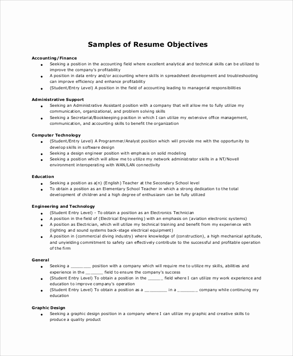 Administrative assistant Resume Objective Best Of 6 Resume Objective Samples
