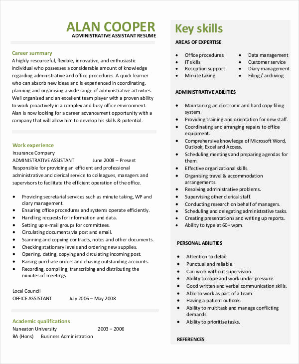 Administrative assistant Resume Objective Fresh 44 Sample Resume Templates