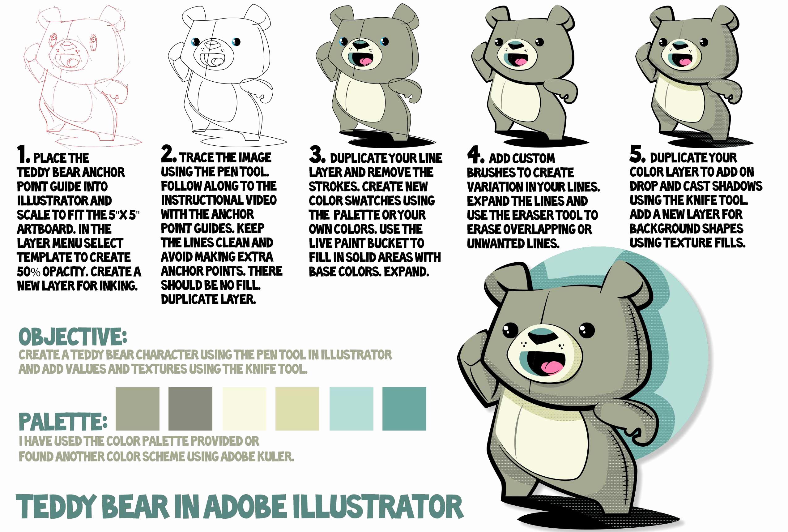 Adobe Illustrator Tutorials for Beginners Fresh Easy Adobe Illustrator Tutorial Using A Cartoon Teddy Bear