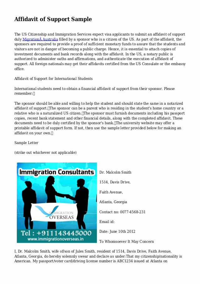 Affidavit Of Support Letter Beautiful Affidavit Of Support Sample
