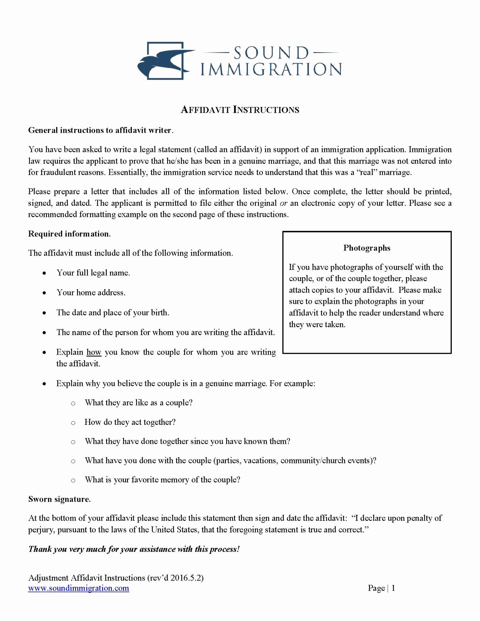 Affidavit Of Support Letter Best Of Affidavit Instructions for Marriage Based Applications