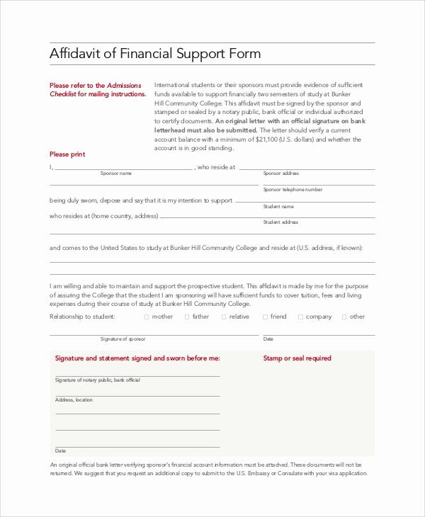 Affidavit Of Support Letter Elegant 8 Affidavit Of Support Samples