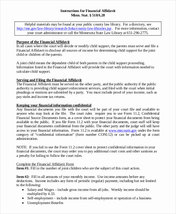 Affidavit Of Support Letter Fresh 10 Affidavit Of Support Samples and Templates Pdf Word