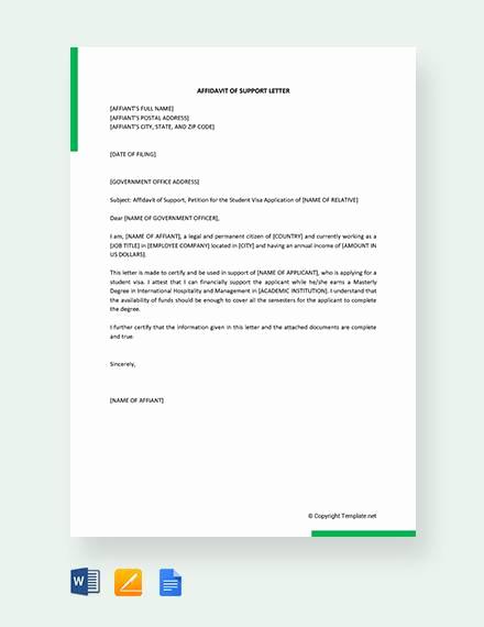 Affidavit Of Support Letter Fresh 12 Affidavit Samples Doc Pdf