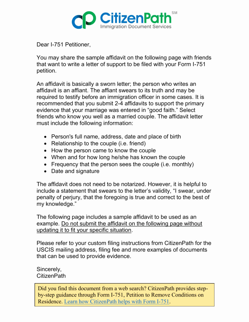 Affidavit Of Support Letter Inspirational I 751 Affidavit Sample