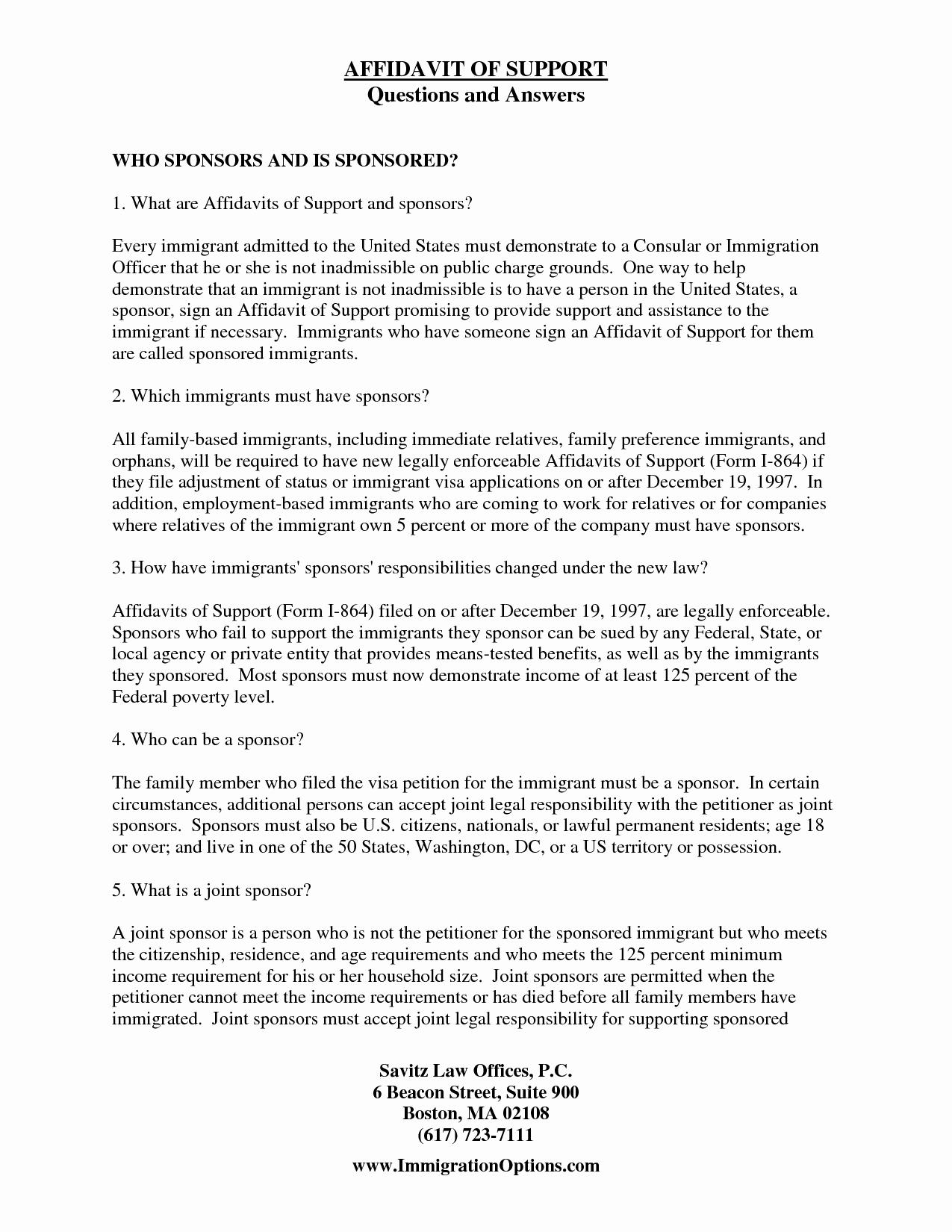 Affidavit Of Support Letter Inspirational Immigration Affidavit Letter Sample