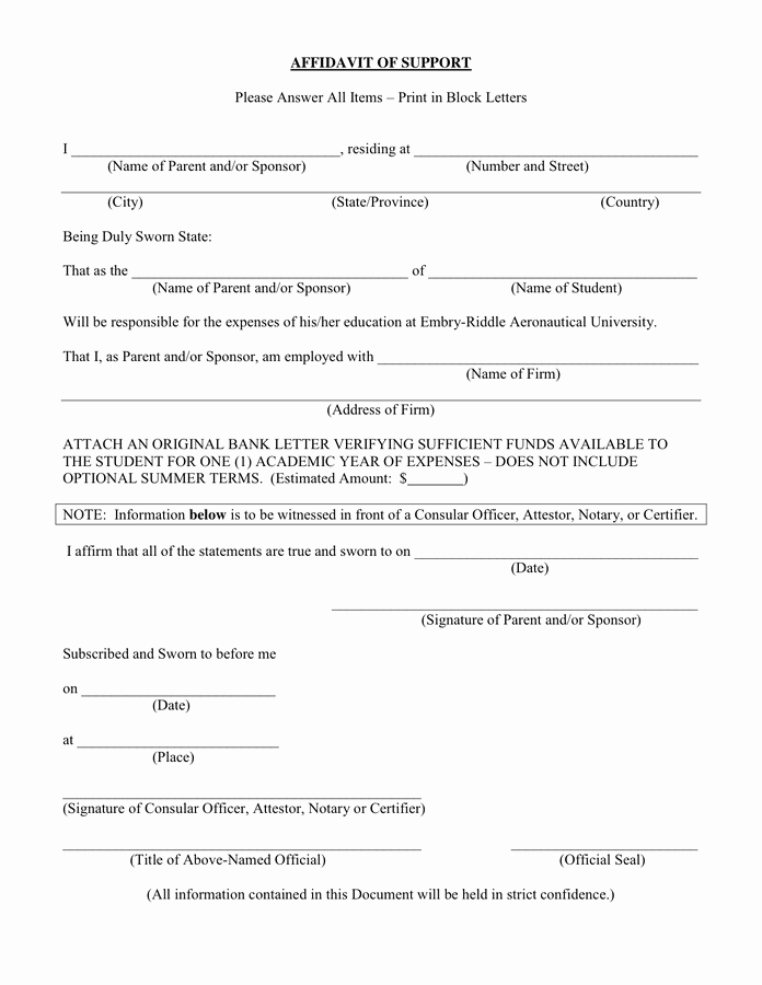 Affidavit Of Support Letter Lovely Affidavit Of Support In Word and Pdf formats
