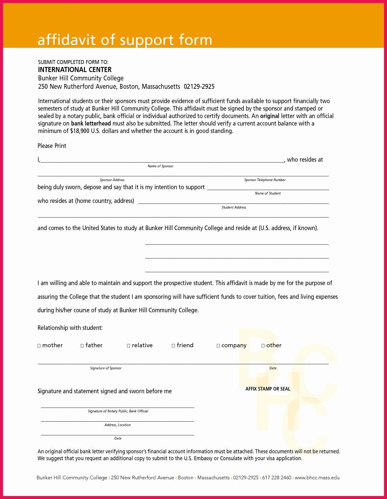 Affidavit Of Support Letter Luxury Affidavit Of Support Sample