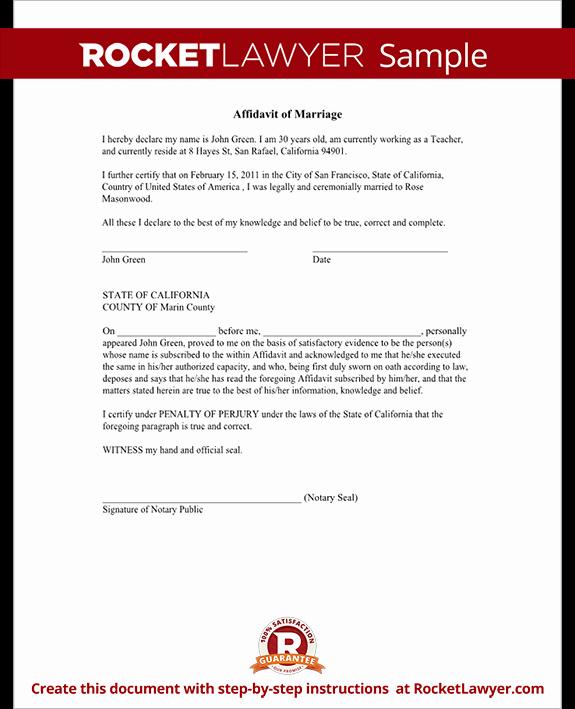Affidavit Of Support Letter New Affidavit Of Marriage form Marriage Affidavit Letter Sample