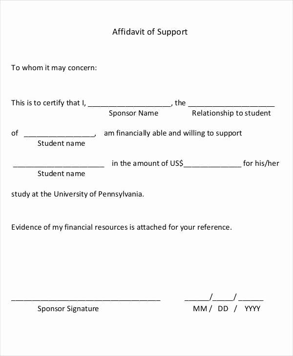 Affidavit Of Support Letter Unique 22 Letter Of Support Samples Pdf Doc