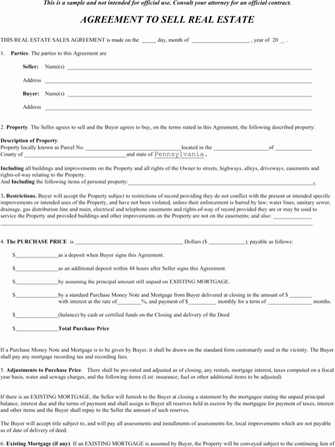Agreement to Sell Real Estate Unique Download Pennsylvania Fer to Purchase Real Estate form