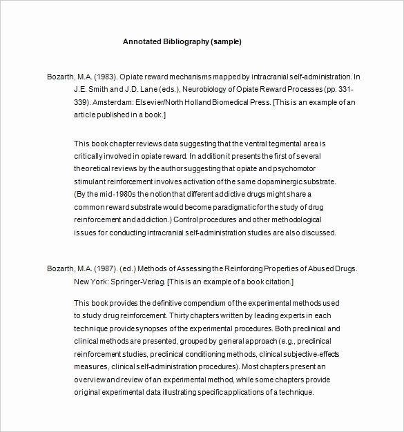 Annotated Bibliography Template Apa Fresh Apa Annotated Bibliography Template