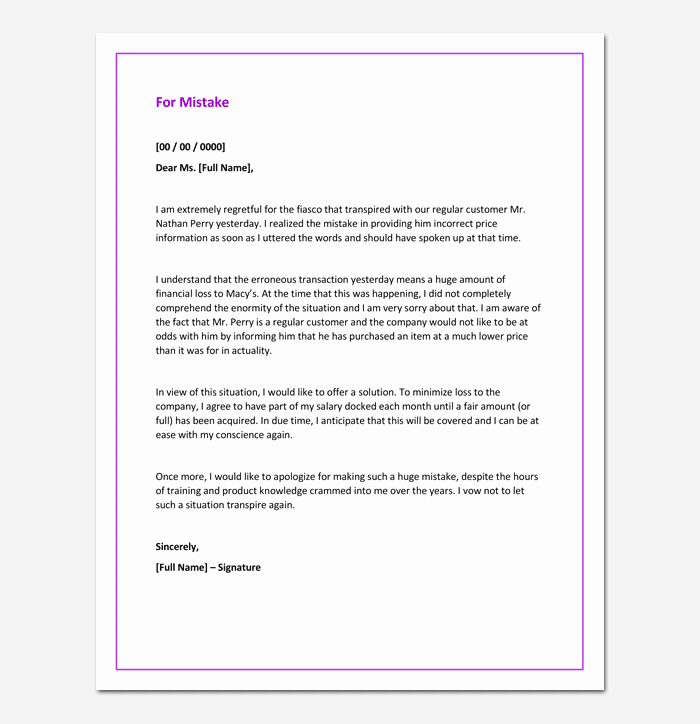 Apology Letter to Customers Beautiful Apology Letter for Mistake 5 Samples Examples & formats