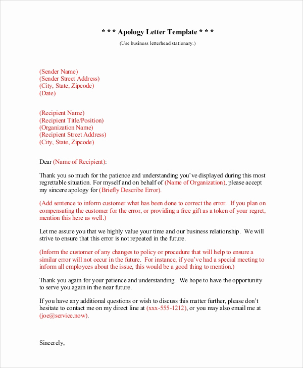 Apology Letter to Customers Elegant Sample sincere Apology Letter 5 Documents In Word Pdf