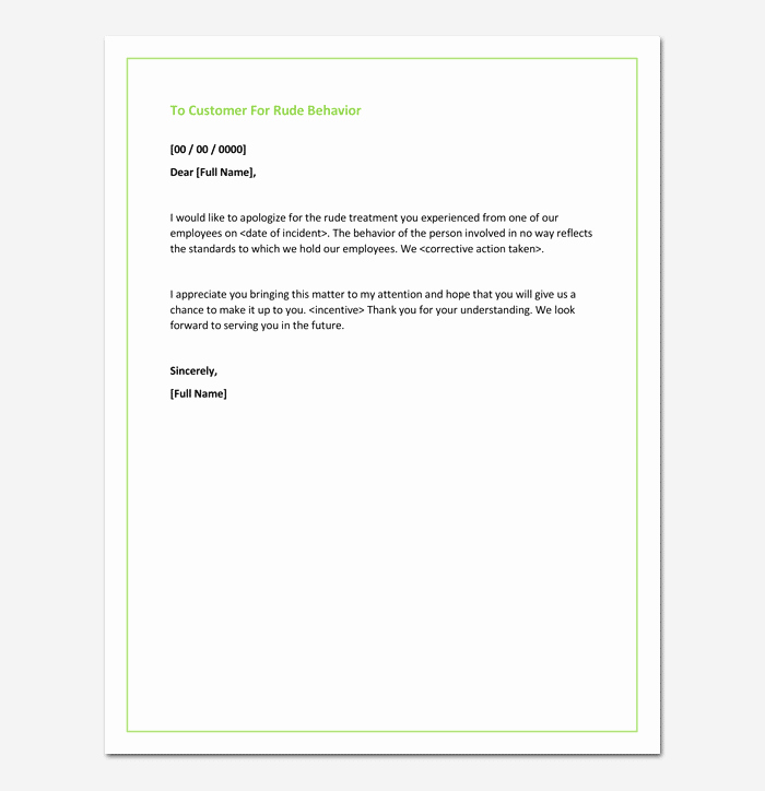 Apology Letter to Customers Inspirational Apology Letter for Bad Rude or Unprofessional Behavior