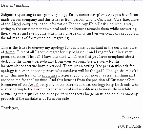 Apology Letter to Customers Lovely Apology Letter to Customer Letter Samples