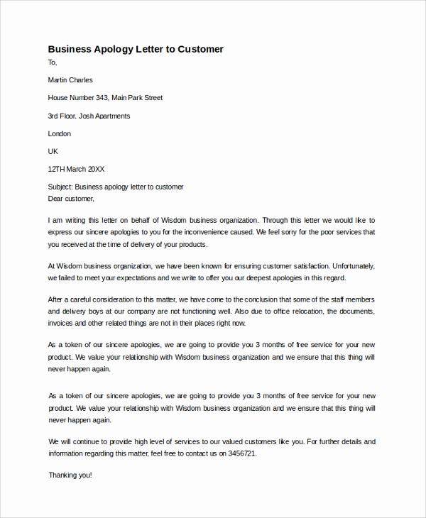 Apology Letter to Customers Luxury Sample Business Apology Letter 7 Documents In Pdf Word