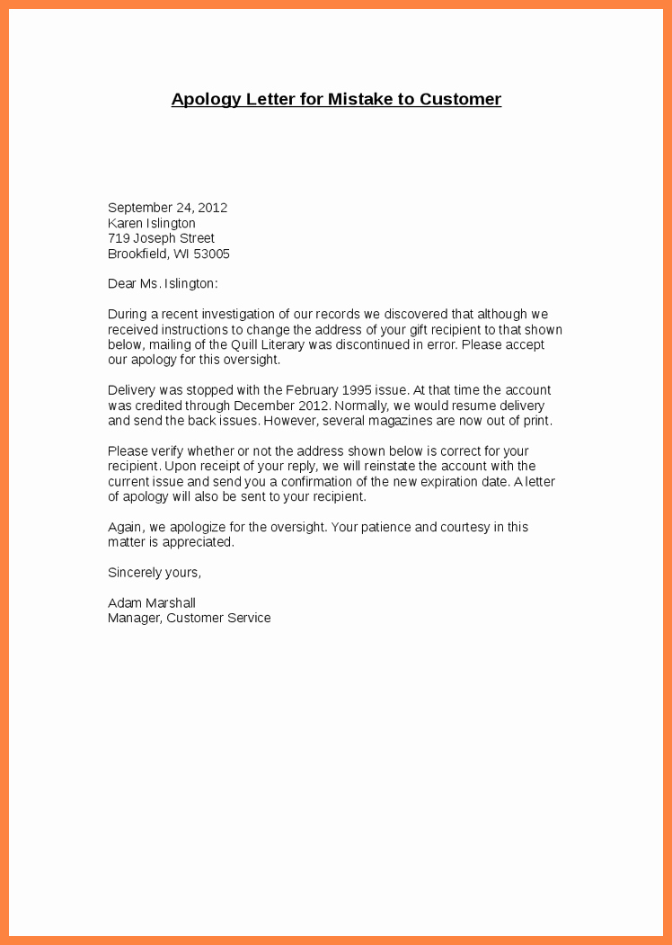Apology Letter to Customers Unique 8 Pany Apology Letter to Customer